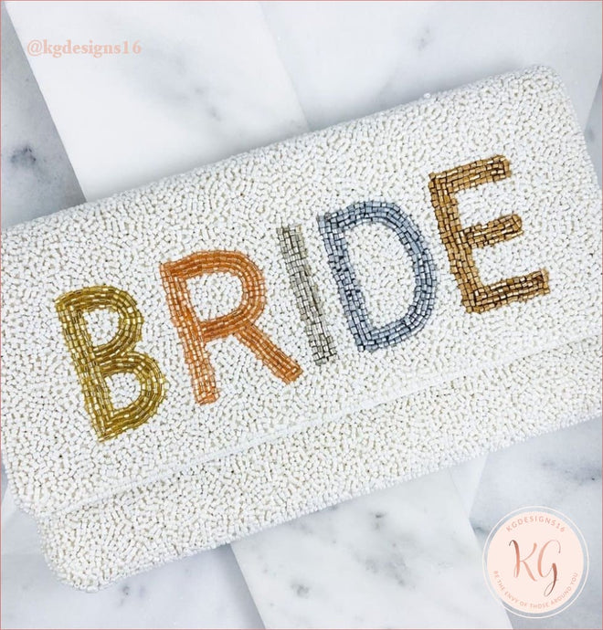 Ivory Ombre Beaded Bride Crossbody Clutch