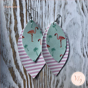Key West Flamingo Stripes Leather Earrings Jewelry