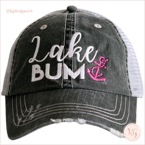 Lake Bum Anchor Distressed Baseball Trucker Hat Hot Pink Trucker Hats