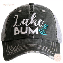 Load image into Gallery viewer, Lake Bum Anchor Distressed Baseball Trucker Hat Teal Trucker Hats