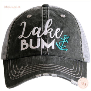 Lake Bum Anchor Distressed Baseball Trucker Hat Teal Trucker Hats
