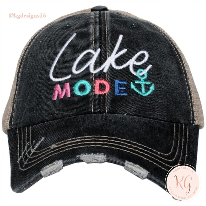 Lake Mode Embroidered Distressed Baseball Trucker Hat