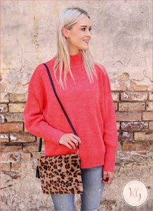 Laurie Tan Leopard Faux Fur Crossbody