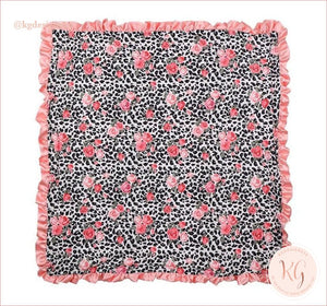 Leopard And Rose Minky Infant Baby Blanket