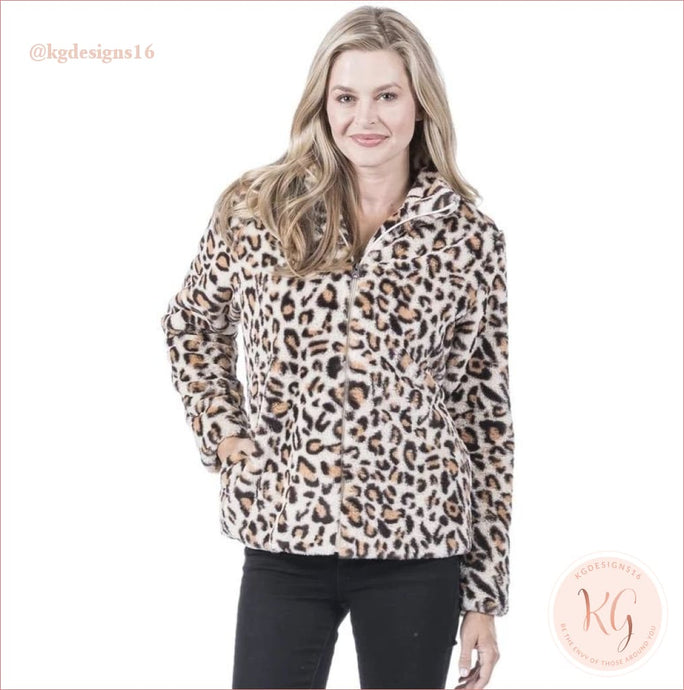 Leopard Print Full Zip Faux Fur Jacket