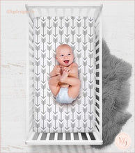 Load image into Gallery viewer, Little Man Arrow Crib Sheet
