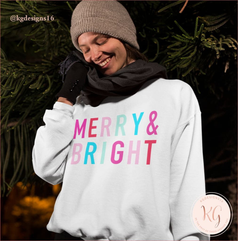 Merry And Bright Graphic Christmas Unisex Sweatshirt Clothing