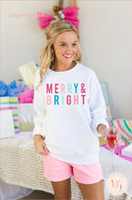 Load image into Gallery viewer, Merry And Bright Graphic Christmas Unisex Sweatshirt Clothing