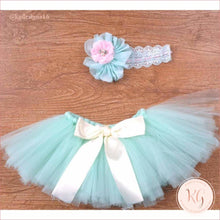 Load image into Gallery viewer, Mint Green Baby Tutu Set With Headband Newborn Pictures