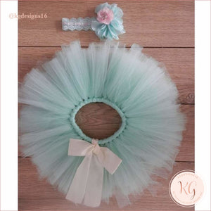 Mint Green Baby Tutu Set With Headband Newborn Pictures