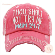 Load image into Gallery viewer, Mom Mood 24:7 Thou Shalt Not Try Me Embroidered Patch Baseball Hat Red