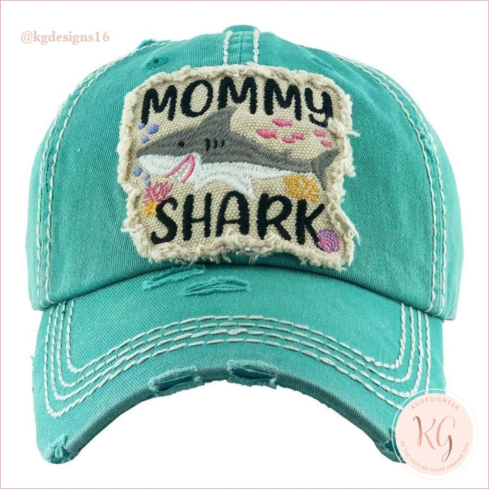 Mommy Shark Embroidered Patch Baseball Hat