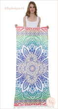 Load image into Gallery viewer, Multicolor Geometric Floral Print Tassel Beach Towel