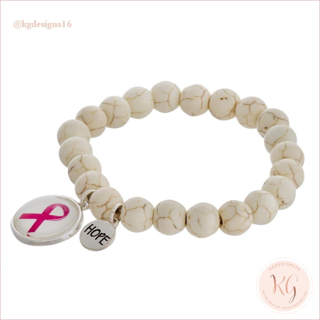 Natural Stone Beaded Breast Cancer Awareness Stretch Bracelet