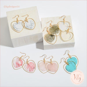 Natural Stone Heart Drop Gold Earrings