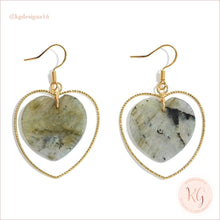 Load image into Gallery viewer, Natural Stone Heart Drop Gold Earrings Labradorite