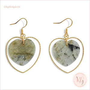 Natural Stone Heart Drop Gold Earrings Labradorite