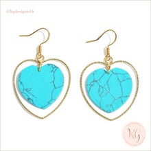 Load image into Gallery viewer, Natural Stone Heart Drop Gold Earrings Turquoise