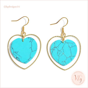Natural Stone Heart Drop Gold Earrings Turquoise