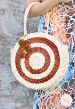 Load image into Gallery viewer, Natural Straw Round Pom Bag Tote Destination Resort Beach