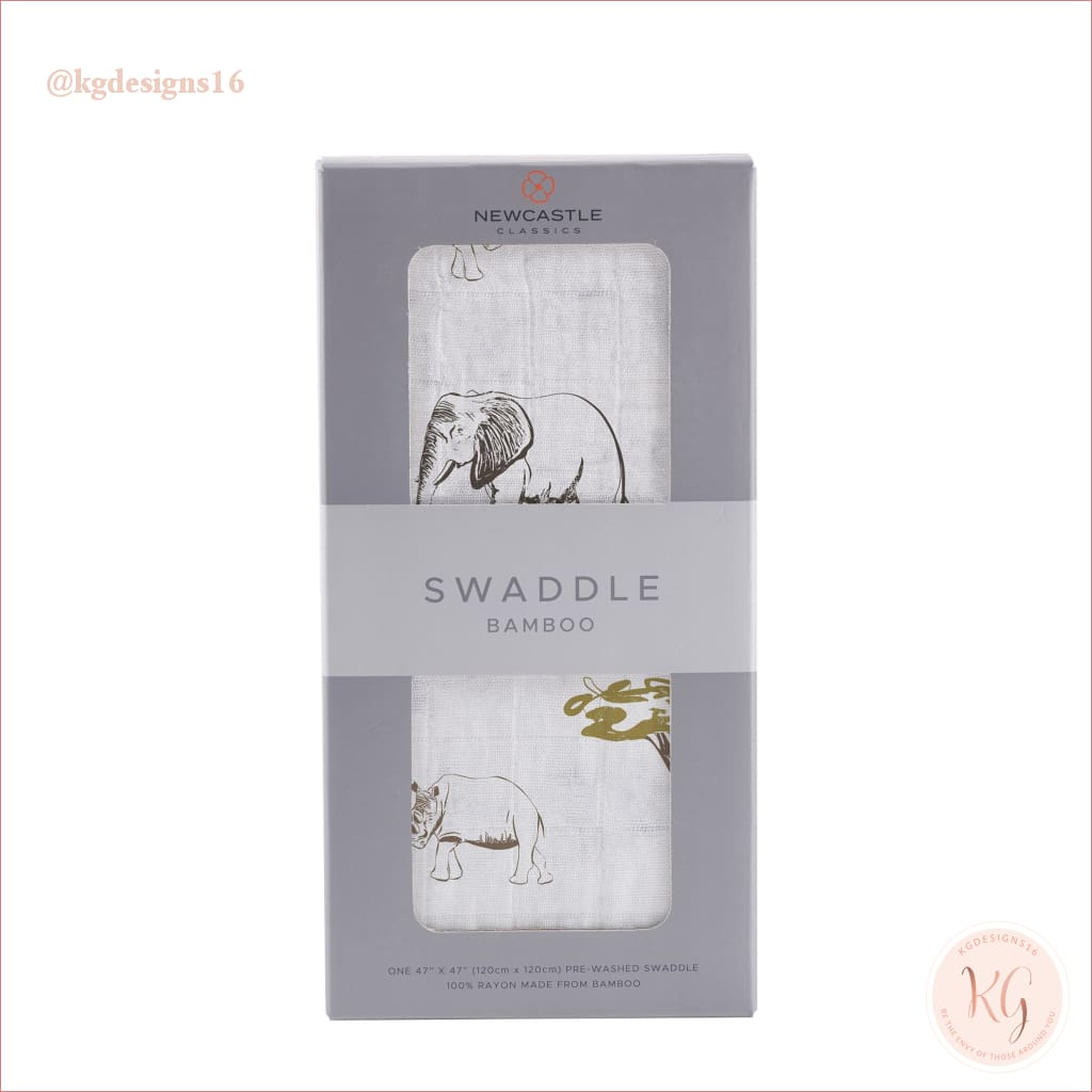 Newcastle Bamboo Muslin Safari Rhinos And Elephants Swaddle
