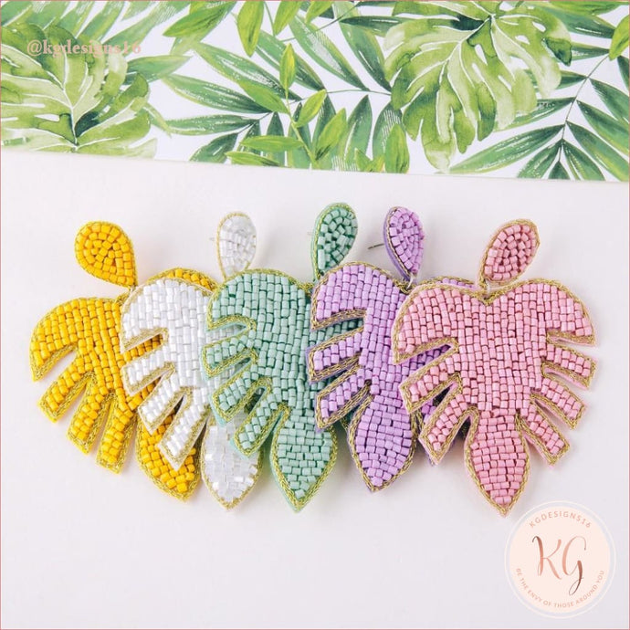 Pastel Palm Leaf Seed Bead Beaded Statement Earrings