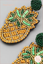 Load image into Gallery viewer, Pineapple Embellished Seed Bead Beaded Earrings