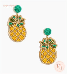 Pineapple Embellished Seed Bead Beaded Earrings