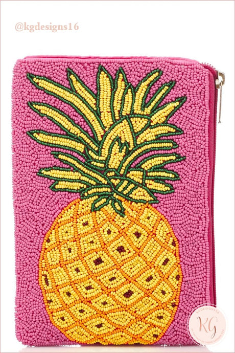 Pink Beaded Pineapple Crossbody Clutch