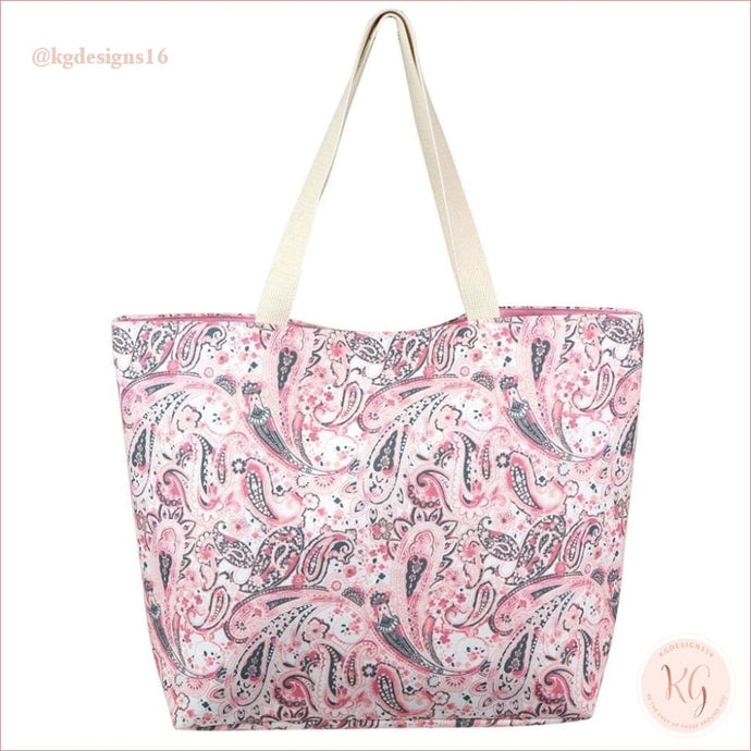 Pink Paisley Print Resort Destination Canvas Tote Bag