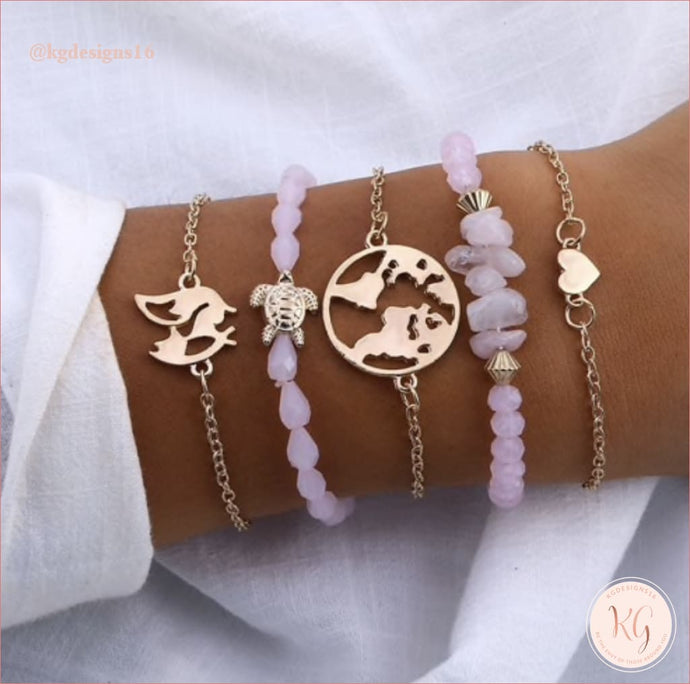 Pink Turtle World Boho Summer Bracelet Set Jewelry