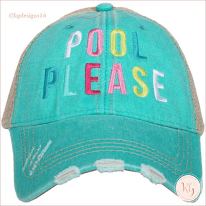 Pool Please Distressed Baseball Trucker Hats Teal Trucker Hats
