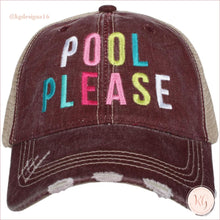 Load image into Gallery viewer, Pool Please Distressed Baseball Trucker Hats Wine Trucker Hats