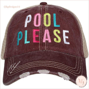 Pool Please Distressed Baseball Trucker Hats Wine Trucker Hats