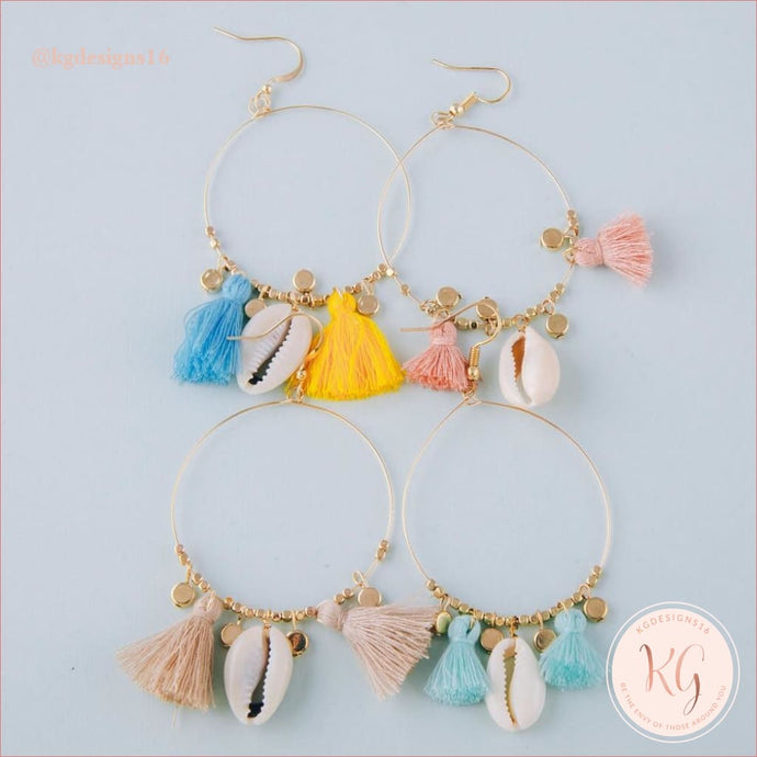 Puka Shell Seed Bead Hoop Tassel Earrings Earrings