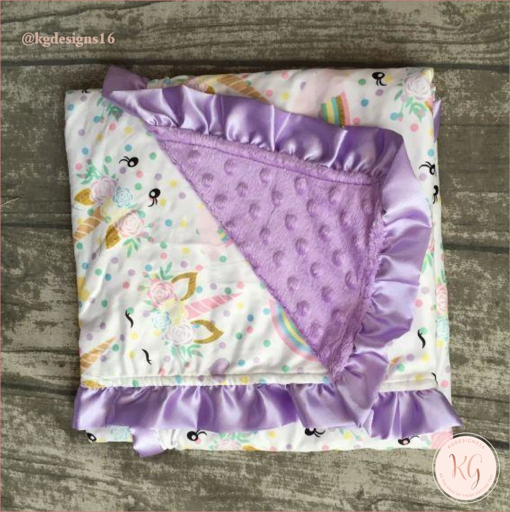 Purple Unicorn Ruffle Plush Minky Blanket
