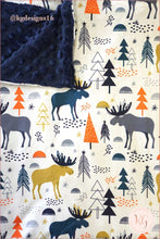 Load image into Gallery viewer, Reindeer Moose Adventure Boys Oversize Minky Blanket