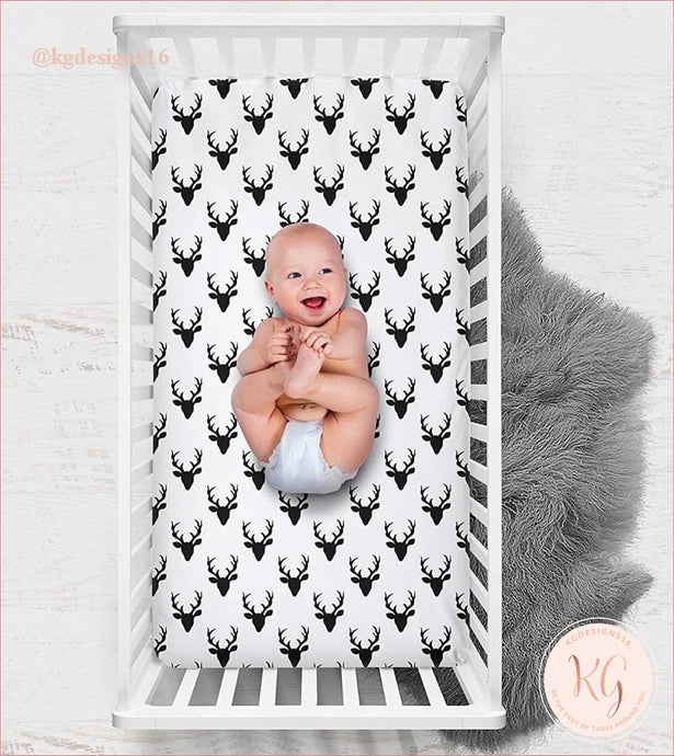 Rustic Woodland Buck Black And White Crib Sheet