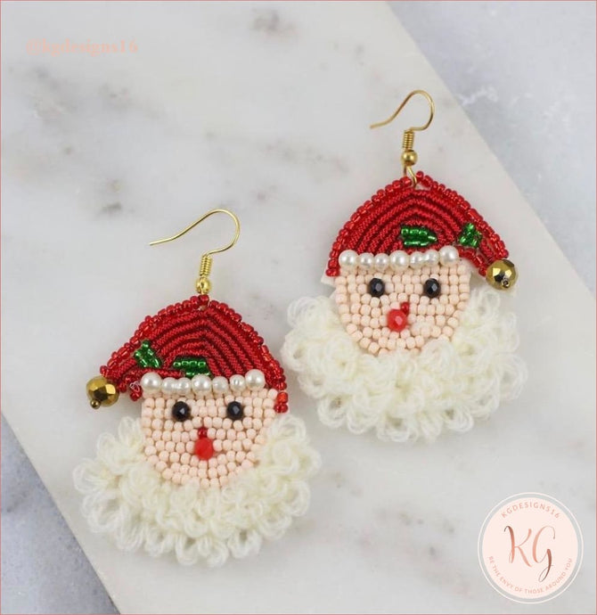 Santa Claus Embellished Seed Bead Beaded Earrings