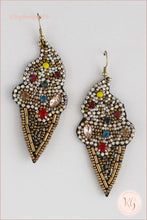 Load image into Gallery viewer, Seed Bead Ice Cream Cone Beaded Earrings Ivory