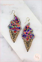 Load image into Gallery viewer, Seed Bead Ice Cream Cone Beaded Earrings Multi
