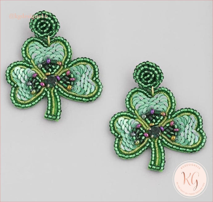 Sequin Bead Shamrock Clover Drop Earrings Seed