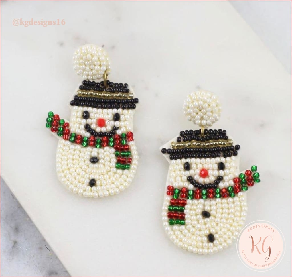 Smiling Snowman Embellished Seed Bead Beaded Earrings