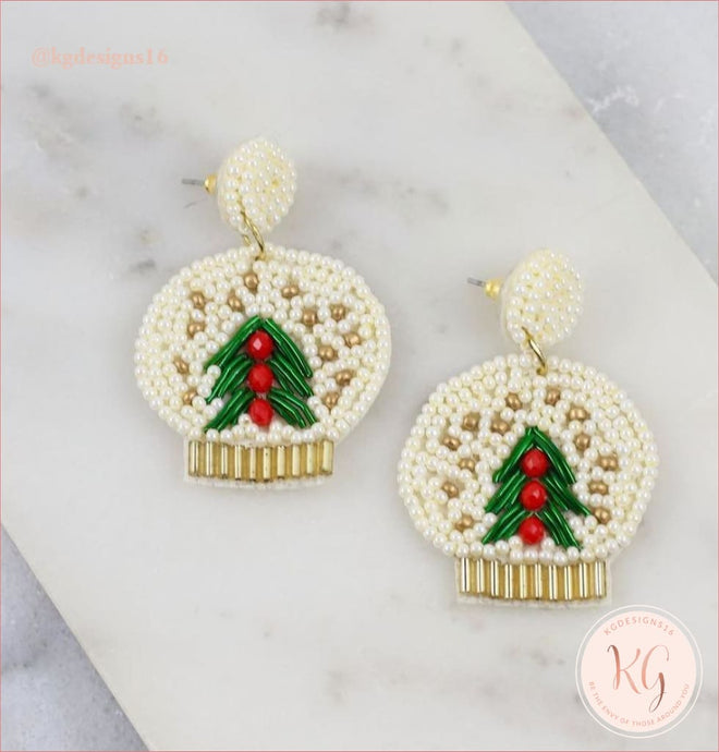 Snow Globe Winter Wonderland Embellished Seed Bead Beaded Earrings