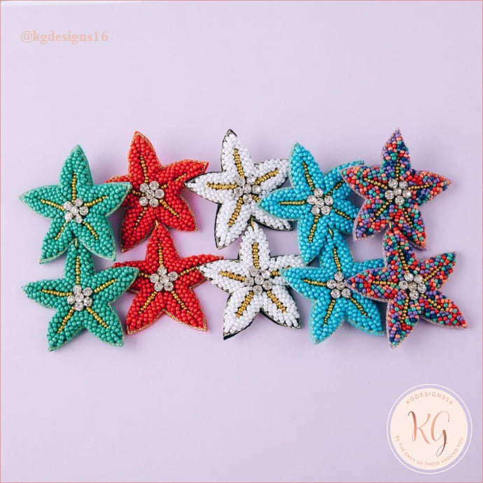 Starfish Seed Bead Beaded Statement Earrings