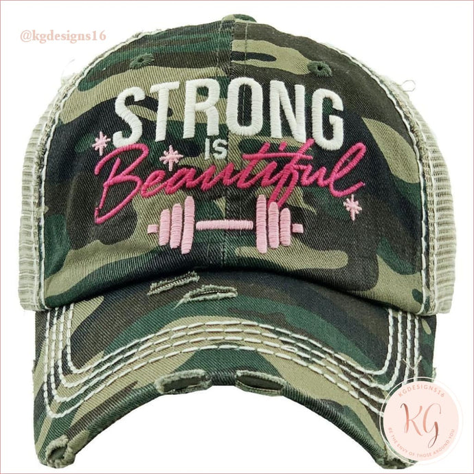 Strong Is Beautiful Embroidered Patch Baseball Hat 5 Colors Camo