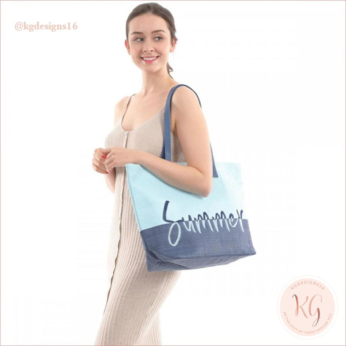 Summer Blue Two Tone Wicker Tote Bag