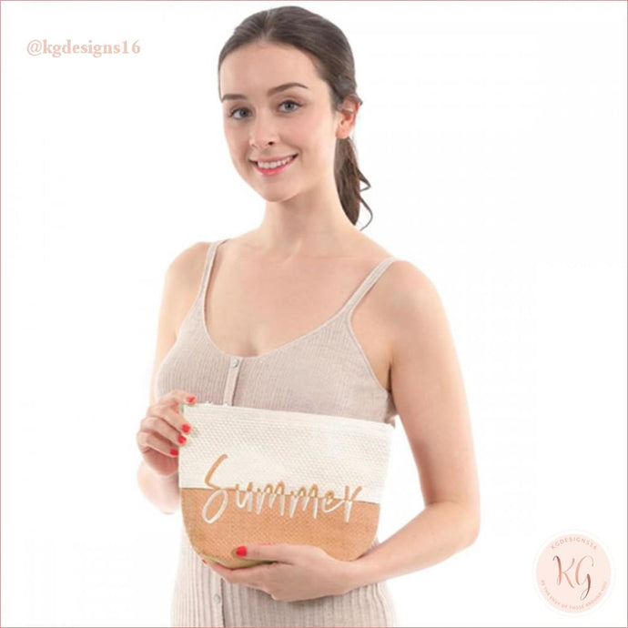 Summer Taupe Two Tone Raffia Makeup Travel Pouch