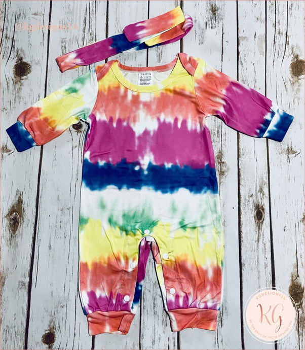 Tie Dye Infant Baby Romper With Matching Headband