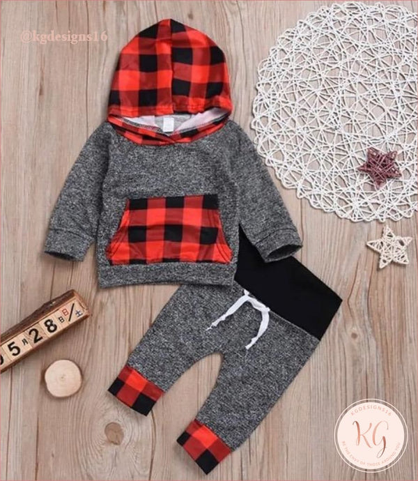Toddler Boys Buffalo Plaid 2 Piece Hoodie Set